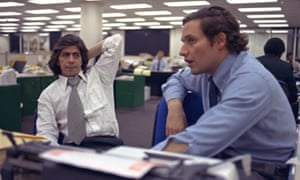 Reporters Bob Woodward, right, and Carl Bernstein, whose reporting of the Watergate case won a Pulitzer Prize, sit in the newsroom of the Washington Post in May 1973.