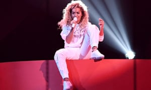 Head-rushing … Rita Ora performing at the Brit awards.