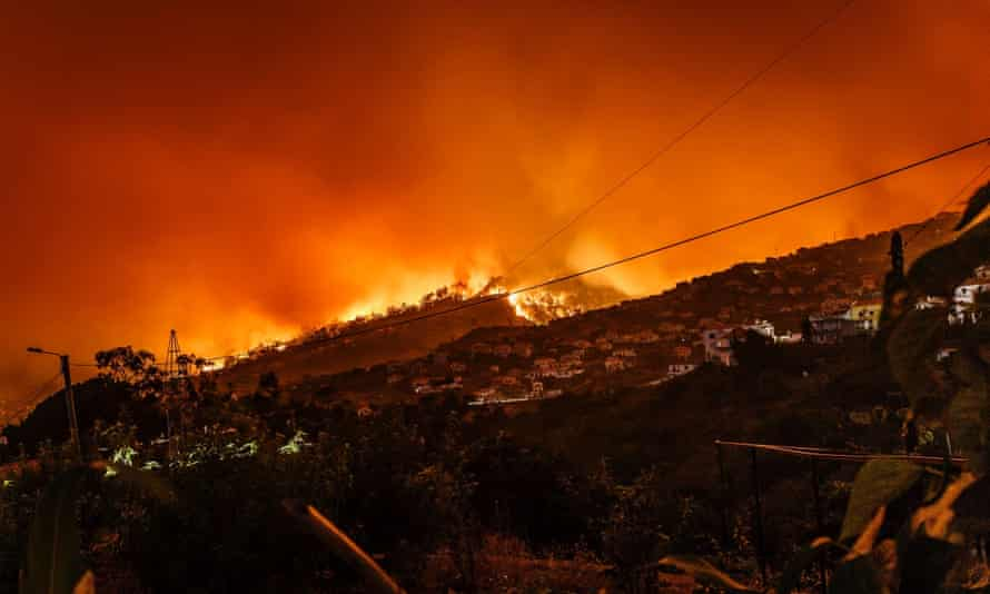 Out of control wildfire approaching Estreito da Calheta, Portugal. September 2017.
