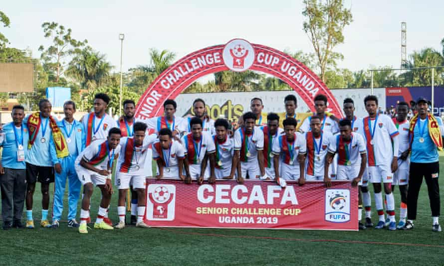 Eritrea with their runners-up medals in Uganda in December. Seven players then went missing.