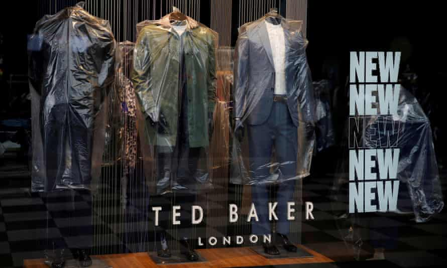 Clothing covered with plastic in a Ted Baker store in Liverpool during the Covid lockdown last year