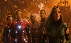 """This image released by Marvel Studios shows, from left, Tom Holland, Robert Downey Jr., Dave Bautista, Chris Pratt and Pom Klementieff in a scene from """"Avengers: Infinity War."""" (Marvel Studios via AP)"""