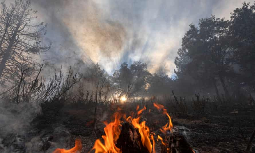 A fire during a warning of excessive hot weather in Cherry Valley, California, August 2020