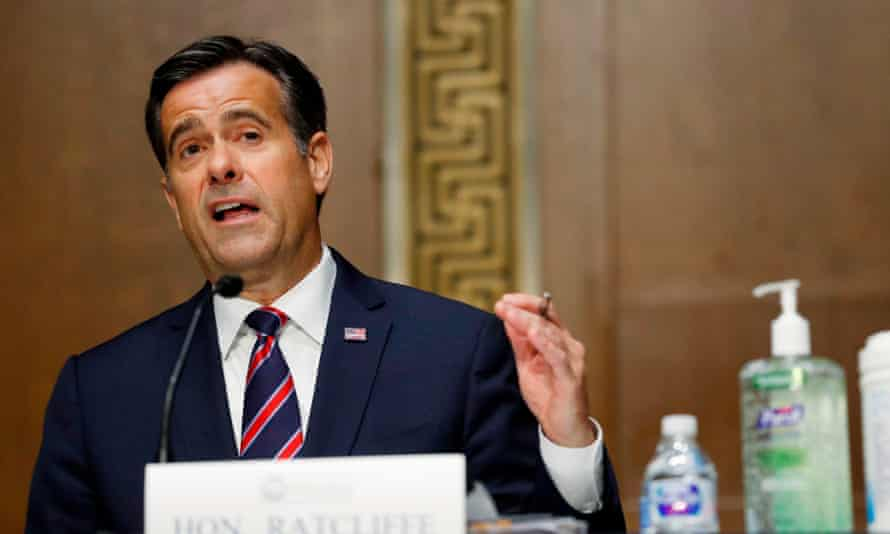 The director of national intelligence, John Ratcliffe. Democrats have criticised his office's decision to stop in-person briefings about election security to Congress.