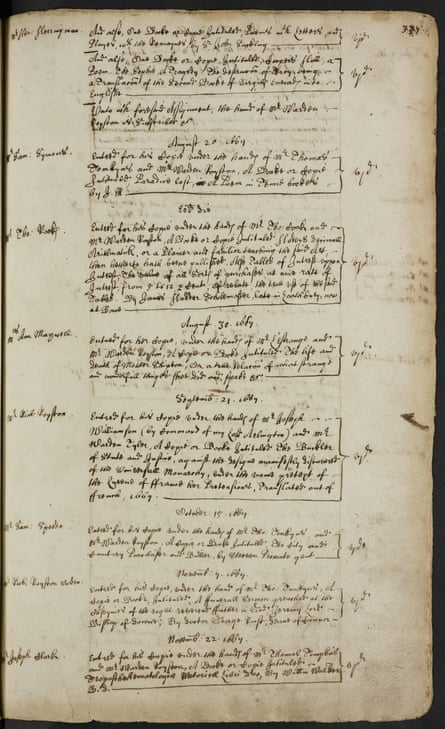 The 1667 copyright registration for John Milton's Paradise Lost.