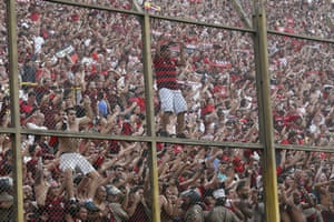 Fans of Brazil's Flamengo celebrate their team's 2-1 win over Argentina's River Plate in the Copa Libertadores final.