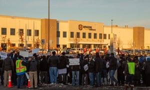 Changing management practices … Demonstrators outside Amazon in Minnesota on Friday.
