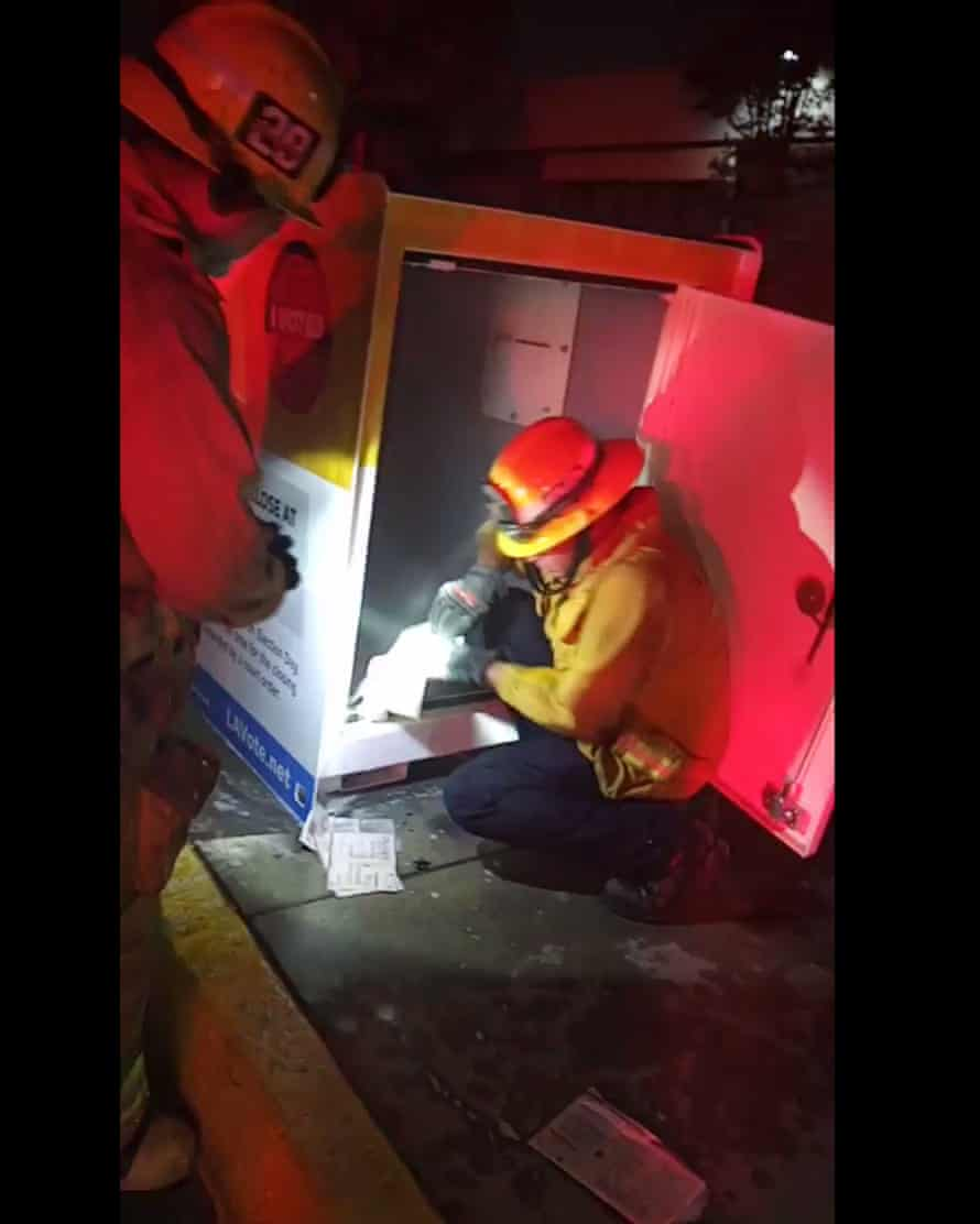 An official ballot drop box in Los Angeles county was damaged by fire on Sunday night.
