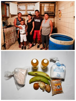 """Francisca Landaeta (R) poses for a picture next to her relatives, (L-R) Luisa Gomez, Gabriel Castillo, Kerlin Garrido and Antony Arias (top) and the food they have at their home in Caracas, Venezuela April 14, 2016. """"We eat today, but we do not know what we will eat tomorrow. We are bad, I never thought it would come to this,"""" Landaeta said."""