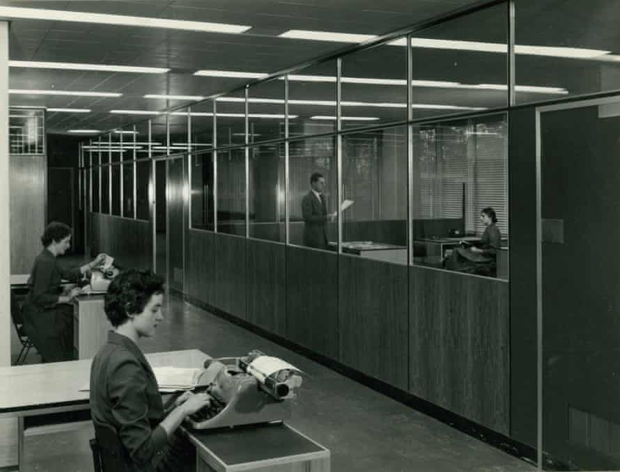 The interior of ICI House in 1958.