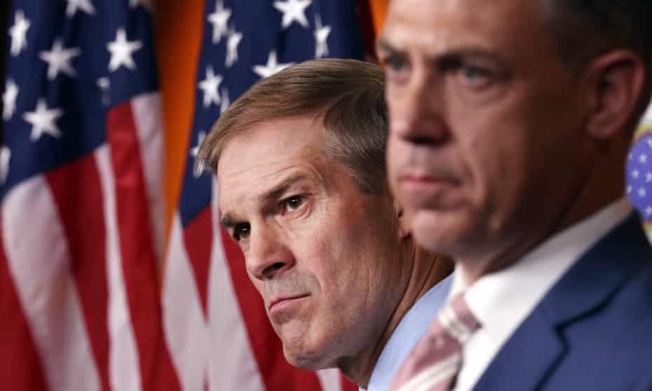 *** BESTPIX *** Kevin McCarthy Holds Press Conference After Dispute Over Jan 6th Committee Members<br>*** BESTPIX *** WASHINGTON, DC - JULY 21: (L-R) Rep. Jim Jordan (R-OH) and Rep. Jim Banks (R-IN) attend a news conference on House Speaker Nancy Pelosi's decision to reject two of Leader McCarthy's selected members from serving on the committee investigating the January 6th riots on July 21, 2021 in Washington, DC. Speaker Pelosi announced she would be rejecting Rep. Banks and Rep. Jordan's assignment to the committee. (Photo by Kevin Dietsch/Getty Images)