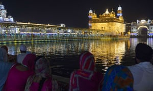 The illuminated Golden Temple in Amritsar, India