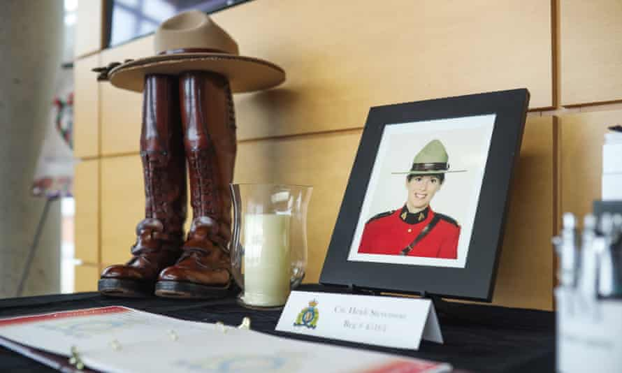 A display dedicated to Constable Heidi Stevenson, who died in the attacks, at RCMP headquarters in Dartmouth, Nova Scotia.