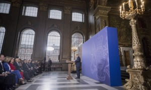 Boris Johnson giving his speech at the Old Royal Naval College in London.