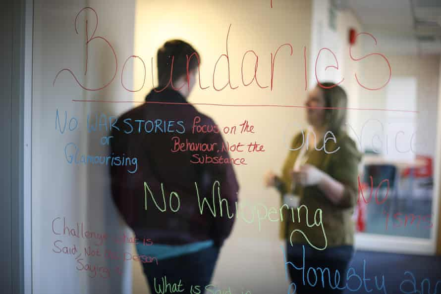 A service user talks to a member of staff at Swanswell, a charity that runs diversion drug classes in Newbury.