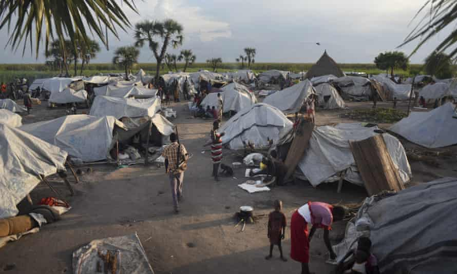 Displaced people in a makeshift camp at Kok island, in Unity State, South Sudan