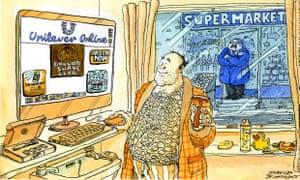 Cartoon of man logging on in his bathroom to buy toiletries.