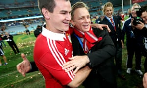 Daniel Craig, here celebrating with fly-half Jonny Sexton the Lions win over Australia in Sydney in 2013, is a known rugby fan.