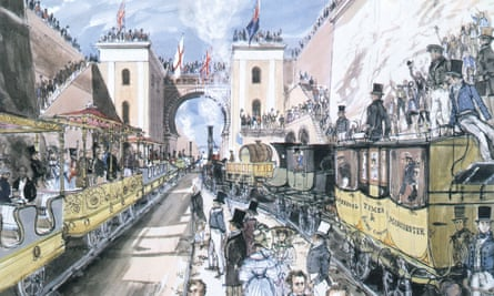 The opening of the Liverpool and Manchester Railway, Liverpool, 1830.