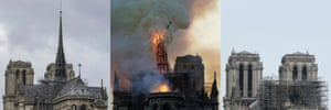 This composite shows the steeple as it was; during its collapse; and as the towers are now