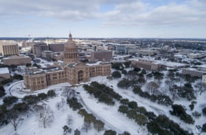 The Capitol grounds are covered in snow in Austin, Texas on Monday Feb. 15, 2021.