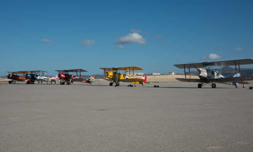 Vintage Air Rally biplanes at Sitia, Crete, on 12 November.