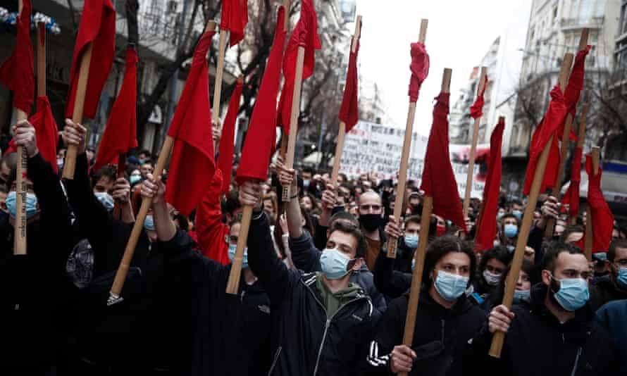 University students in Thessaloniki protesting against the education bill on Wednesday