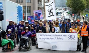 Activists from various countries march for 'Rights of Persons with Disabilities' in Brussels, Belgium