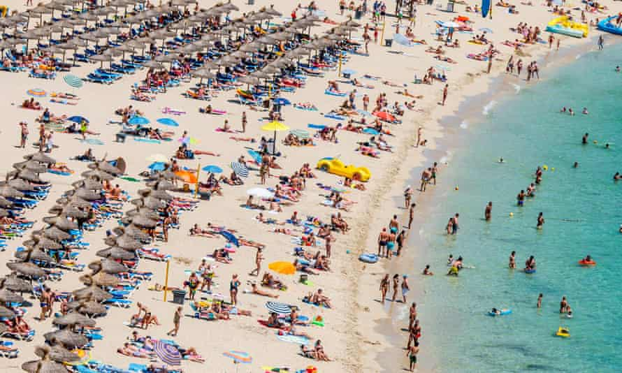 The beach at Magaluf, a favourite with Britons. But Mallorcans fear overcrowding could put visitors off returning.
