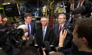 Greg Clark, Carlos Tavares and Len McCluskey at the Vauxhall plant in Luton.