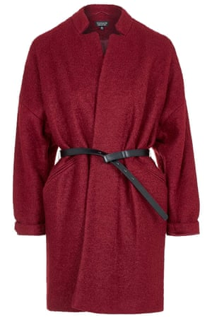 Red belted wool coat