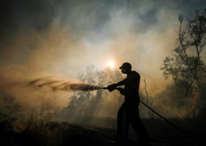 Guisborough, England: A firefighter from Cleveland Fire Brigade tackles a woodland fire in the hills above Guisborough