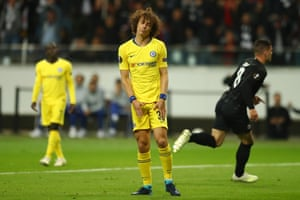 David Luiz of Chelsea looks downcast as Luka Jovic takes off.