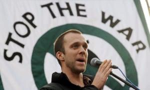 Lance Corporal Joe Glenton addresses a Stop the War demonstration in London in 2009.