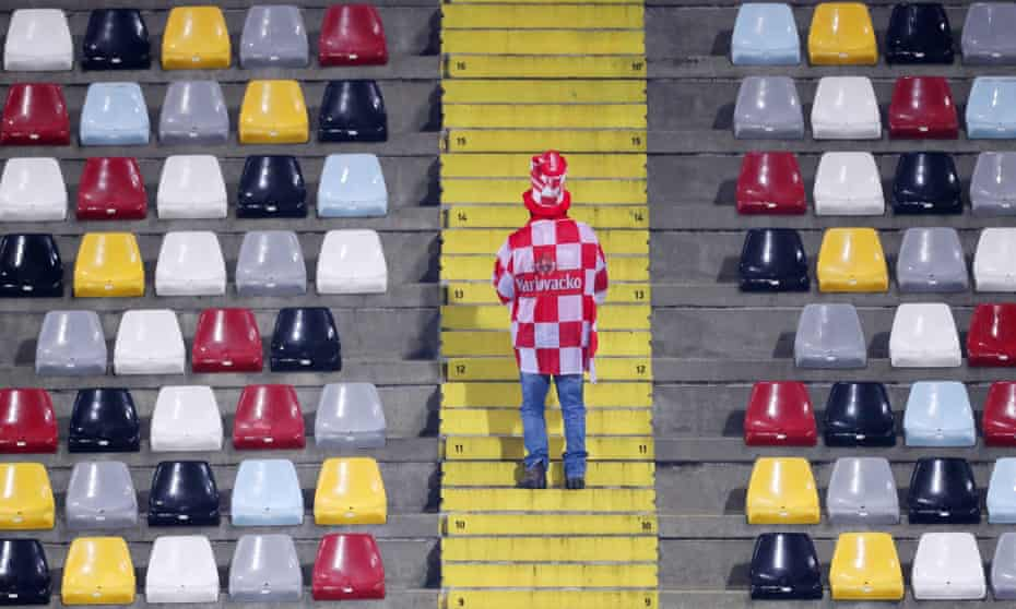 A Croatia fan in the stands before their Euro 2020 qualifier against Slovakia in November 2019