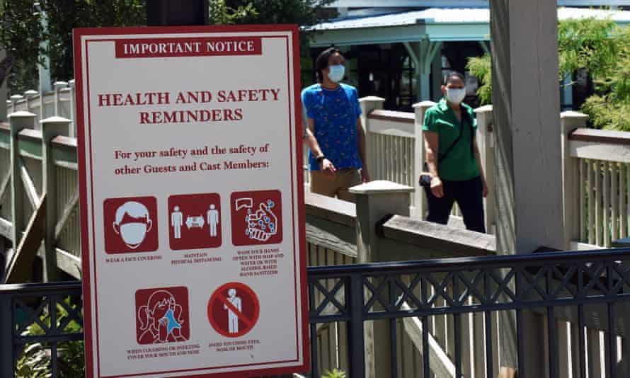 People at Walt Disney World on the day the retail, dining and entertainment complex begins a phased reopening following the closure of the theme park due to the coronavirus pandemic.