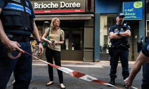French police officers set up a cordon in Lyon