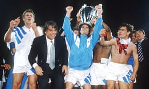 Marseille celebrate winning the European Cup in 1993.