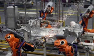 Robots work on a production line