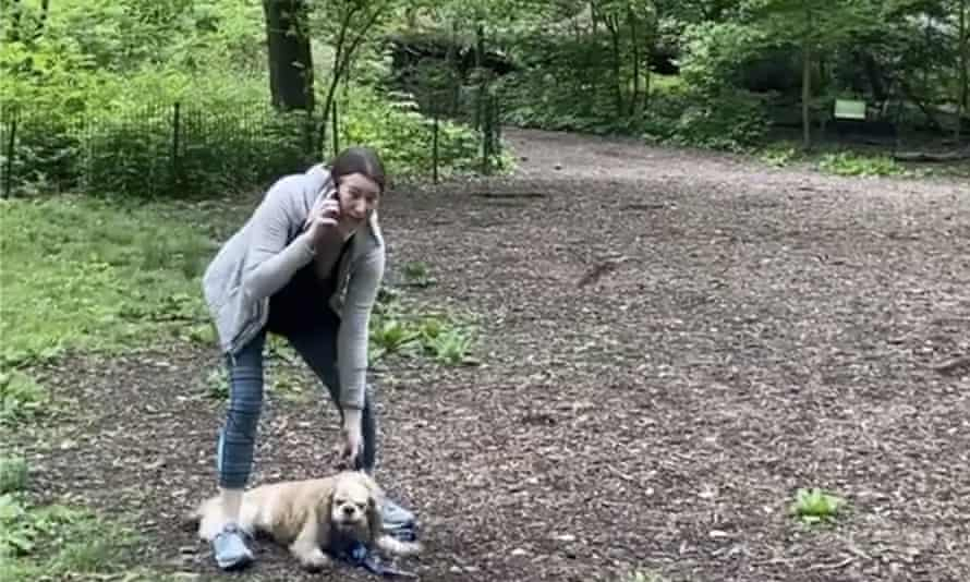 Amy Cooper with her dog calling police at Central Park in New York in an encounter with Christian Cooper (no relation) in May 2020.