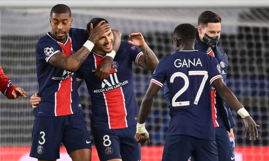 Paris Saint-Germain's players celebrate progress to the last four of the Champions League, despite losing 1-0 on the night at home to Bayern Munich