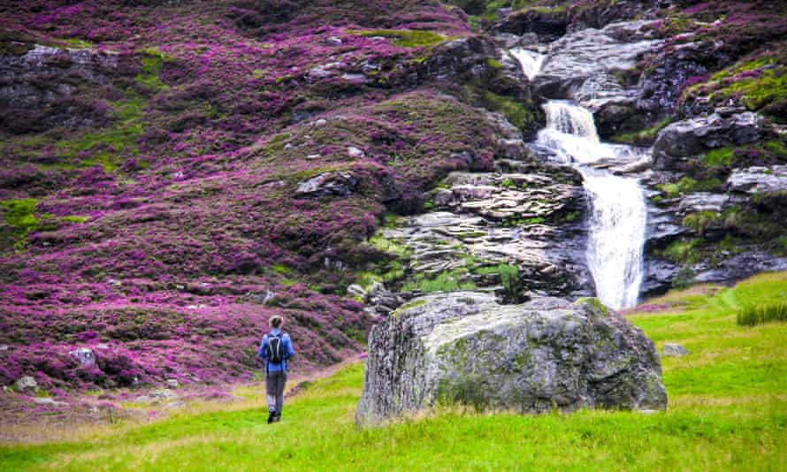 Falls of Unich and hiking trail in Cairngorm National Park.