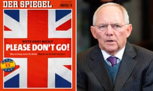 Der Spiegel's Brexit edition, which carries an interview with Wolfgang Schäuble, right.
