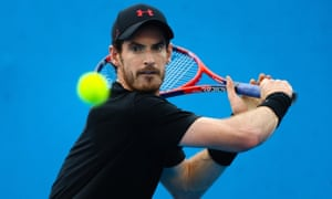 Andy Murray pictured during training for what should have been his return from injury at a Brisbane tournament in January.