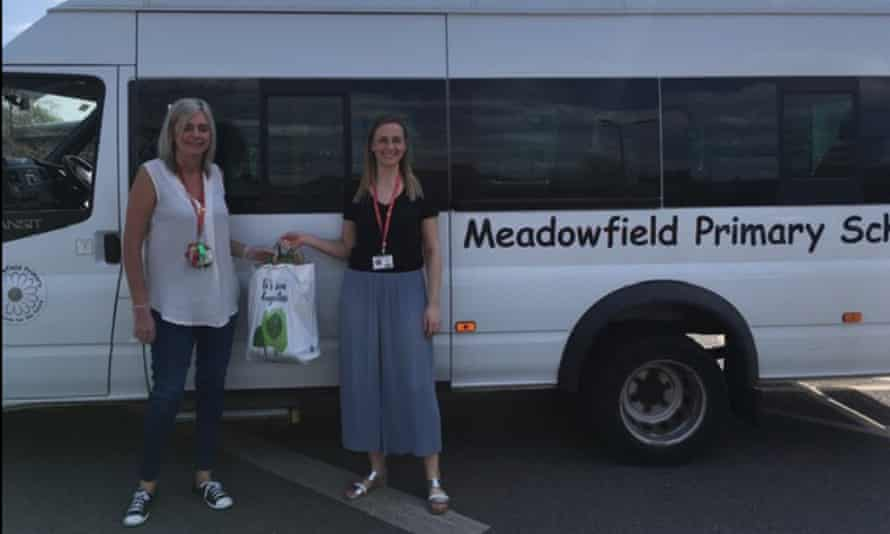 Staff at Meadowfield primary school in Leeds prepare to deliver supplies to families