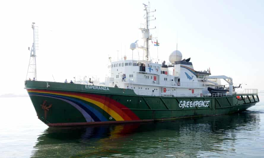 The Greenpeace ship, which is conducting an expedition to explore the coral reef off the mouth of the Amazon river, which could be threatened by oil projects.