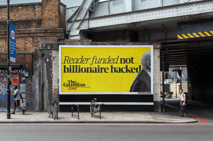 The Guardian 200th anniversary advertising creative 'Reader funded not billionaire backed'
