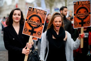 Demonstrators attend the March4Women in London, UK