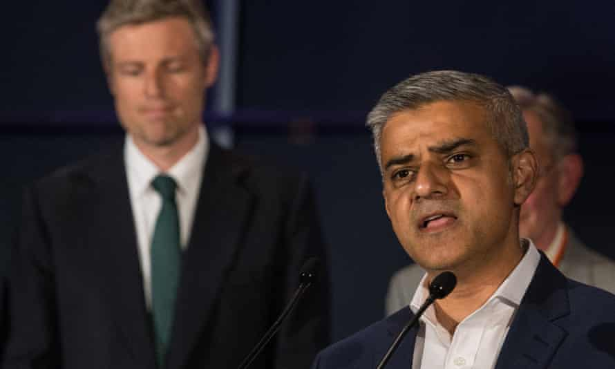 Zac Goldsmith and Sadiq Khan after the results of the mayoral election were announced