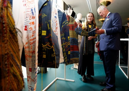 The Prince of Wales is shown sustainable clothing.